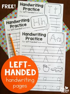 Left-Handed Handwriting Pages - 7 free pages - This Reading Mama