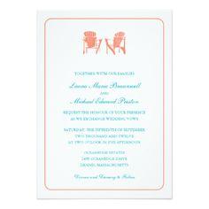 "Two Adirondack Chairs Wedding 5"" X 7"" Invitation Card"