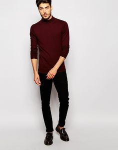 add some warm to your holiday outfit with a burgundy colored turtleneck sweater paired with a dark pair of jeans, Scotch & Soda Roll Neck Sweater Casual Sweaters, Casual Jeans, Jeans Style, Winter Fashion Outfits, Stylish Outfits, Cool Outfits, Fashion Clothes, Men's Fashion, Jumper Outfit
