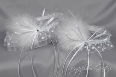 "Wedding Garter Set in White Polka Dot with Swarovski Crystals & Marabou Feathers by Sugarplum Garters | Use code ""PINTEREST"" for 10% off at checkout!"