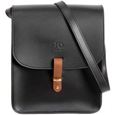 N'Damus London - Elizabeth Black Leather Crossbody Satchel Bag ($486) ❤ liked on Polyvore featuring bags, handbags, shoulder bags, handbag satchel, leather cross body purse, leather crossbody handbags, leather satchel and leather purses