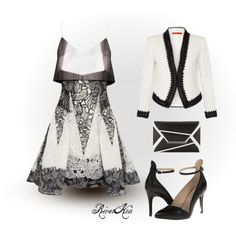 Black & White by riverkris on Polyvore featuring moda, Peter Pilotto, Alice + Olivia, Chinese Laundry, BCBGMAXAZRIA, blazer, envelopeclutch, peterpilotto and chineselaundry