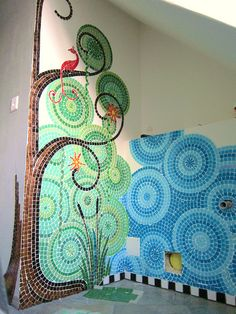 Mosaic Bathroom WIP by Frances Green. I would love to have something like this done in the powder room of our dream home. Mosaic Bathroom, Mosaic Diy, Mosaic Garden, Mosaic Crafts, Mosaic Projects, Mosaic Wall, Mosaic Glass, Mosaic Tiles, Fused Glass