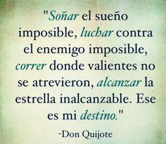 Soñar, luchar, correr, alcanzar. Ese es mi camino.   Don Quijote