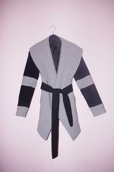 Pilkai juodas paltas su didele apykakle - Paltai - Pincled  #coat