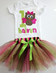 Girl's Personalized Birthday Outfit - Owl Birthday - Tutu - Green - Pink - Brown - First Birthday - Second Birthday