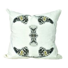 White Metallic Medallion Throw Pillow | HeartHabits Deliciously Beautiful Apparel and Home Decor.