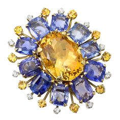 Retro Citrine Sapphire Diamond Gold Floral Ring | From a unique collection of vintage cocktail rings at https://www.1stdibs.com/jewelry/rings/cocktail-rings/