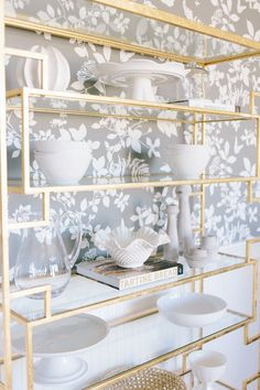 Gold Etagere Styling || Studio McGee