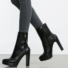 ZARA HIGH HEEL LEATHER ANKLE BOOT BLACK Brand new with tags.                                                     True to size and very comfortable                               Side zip with track soles and pointed toe design                                                                        Skinny block heel.                                                    Leather and polyeutherane.                                   $100 Ⓜ️ercari Zara Shoes Ankle Boots & Booties