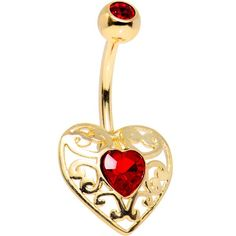 Red Gem Gold Plated Be Mine Valentine Filigree Heart Belly Ring