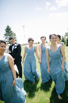 Long chiffon slate blue bridesmaid dresses your girls will love!   Kennedy Blue Bridesmaids   Photo by Whims & Joy