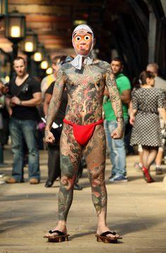 Extreme Disturbing Full Body Tattoos - Likes Full Body Tattoo, Real Tattoo, Body Tattoos, Sleeve Tattoos, Japanese Drawings, Japanese Tattoo Art, Tattoo Tradicional, Japanese Mask, Fundoshi