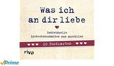 Was ich an dir liebe - 20 Postkarten: Individuelle Liebesbotschaften zum Ausfüllen - Werbung #Bücher #Lesen #Liebesbuch #Liebe #Postkarten #Postkartenbuch #Geschenk #Geschenkidee #Valentinstag