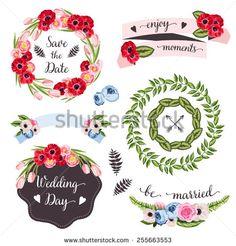 tasarım için elle çizilmiş çiçekler ve bitkiler ile düğün koleksiyonu