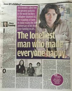"""I only saved this to say that Hendrix """"quote"""" is untrue. I love Rory but that's just not right and it's a shame to see myth written as fact. Irish Rock, Rory Gallagher, Him Band, Blues Rock, Jimi Hendrix, Classic Rock, Rock Music, Love You, Sayings"""