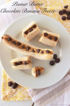 Peanut Butter Chocolate Banana Freeze ...Kids love making this healthy snack!
