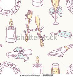 Doodle wedding table decoration seamless pattern. Hand drawn celebration background. Vector illustration
