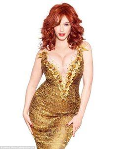 Christina Hendricks in a beautiful golden evening gown