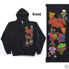 "INSANE CLOWN POSSE ""CHARACTERS"" JOKER CARDS ZIP UP SWEATSHIRT HOODIE MEDIUM NEW"