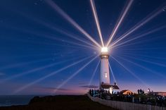 In this nighttime long exposure photograph by Kaddi Suddhi, we see the famous Pigeon Point Lighthouse in San Mateo, California. San Mateo California, California Coast, Central California, Beacon Of Hope, Beacon Of Light, Cruise Planners, Lighthouse Pictures, Light Of The World, Long Exposure