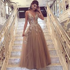 Chic V Neck Long Prom Dress,Tulle Prom Dress,70524 by Dress Storm, $174.00 USD