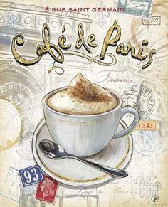 Cafe Paris Canvas Art - Chad Barrett x Bar Kunst, Vintage Prints, Vintage Posters, Chad Barrett, Pocket Letter, Paris Canvas, Foto Transfer, Paris Art, Tea Art