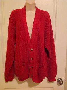 Basix Fenn Wright Manson Vintage Men's SWEATER Cardigan Sz L Red Chunky by TheElegantBohemians on Etsy