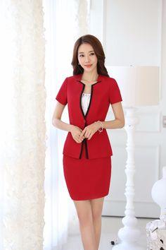 Rojo moda de verano Blazer mujeres juegos de falda chaqueta instala sede para mujer trajes de negocios uniforme estilo OL en Trajes con Falda de Moda y Complementos Mujer en AliExpress.com | Alibaba Group
