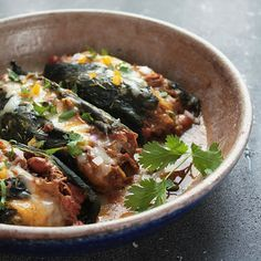 """Roasted Poblanos Stuffed with Pulled Pork Chile Verde from the blog """"I breathe therefore I am hungry!"""""""