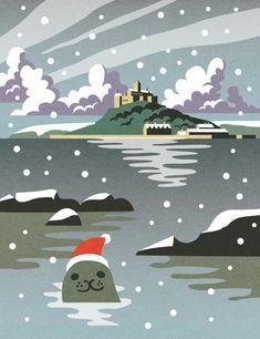 St Michael's Mount Christmas Seal illustration by Matt Johnson for Seasalt Cornwall