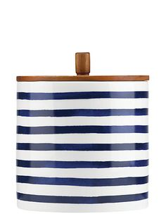 kate spade new york Charlotte Street Striped Canister, Blue/White, From kate spade new york: Crafted of porcelain with a blue-and-white striped motif and topped with a wooden lid, this canister brings a modern, nautical look to the kitchen. Kitchen Canisters, Kitchenware, Tabletop, Kate Spade New York, Bleu Turquoise, White Dishes, Food Storage Containers, Serveware, Bleu Marine