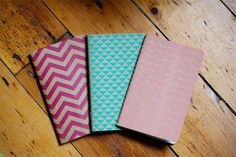Chevron Triangle Scallops Notebooks Set of 3 Screen Printed Pocket Moleskine Cahier. $16.00, via Etsy.