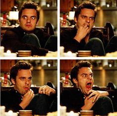 I can't help but love Nick Miller on New Girl- him eating a grape after getting wasted on absenthe...his face though!!