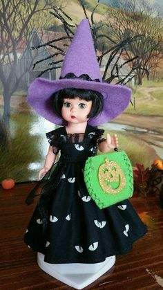 COSTUME,WITCH HAT TREAT BAG FIT Ginny Alexander Wendy Muffie Pam 8 inch  dolls