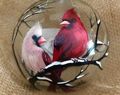 Cardinal Christmas Tree Ornament Hand Painted Glass Love Birds Engagement Wedding Unique Gift Male F Painted Christmas Ornaments, Hand Painted Ornaments, Christmas Balls, Christmas Art, Christmas Tree Ornaments, Christmas Holidays, Christmas Decorations, Holiday Decor, Cardinal Ornaments