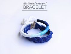 Lines Across: DIY Thread Wrapped Ombre Bracelet Today I'm sharing a fun and simple ombre DIY bracelet that can be made completely with scraps and fabric Mod Podge. I have a special love for shades of blue, and I really love how the blue ombre bracelet turned out. However, it would also be fun to create more of a color-blocked look with bright colors, or even stripes of just two colors.
