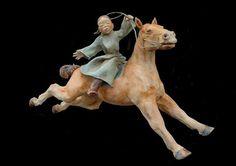 Imagine Gallery Sandra Courlivant-I think this is just so joyous! Equine Art, Horse Art, Ceramic Art, Giraffe, Lion Sculpture, Birds, Horses, Ceramics, Statue