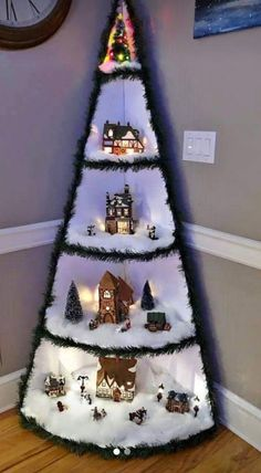 Best 12 Awesome DIY Christmas Decorations on a Budget – Christmas Village Display – SkillOfKing. Christmas Tree Village Display, Corner Christmas Tree, Creative Christmas Trees, Easy Christmas Decorations, Christmas Projects, Christmas Holidays, Christmas Wreaths, Christmas Ornaments, Christmas Tree Inspiration