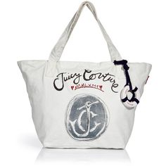 JUICY COUTURE Ivory Canvas Bag ($77) ❤ liked on Polyvore