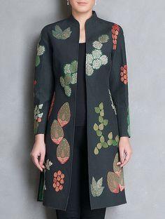Buy Online Buy Black Green Brocade Applique & Block Printed Reversible Jacket Cotton Silk Apparel Jackets Imperious Brocades Handmade and Batik Blazer, Blouse Batik, Batik Dress, Batik Kebaya, Kurta Designs, Blouse Designs, Dress Designs, African Fashion Dresses, Indian Fashion