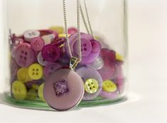 How to: Make my Lavender Button Necklace! It only took 2 minutes to make :)... I just love crafts!