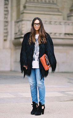 Super Cool Goat Fur Jacket. Get inspired at see what we have: http://www.hockleylondon.com/collection/aura-collection/coats/martha-blue-brown-goat-tibet-lamb-kidskin-coat  #hockleylondon#fashion#streetstyle#cool#stylish#black#orange#inspiration