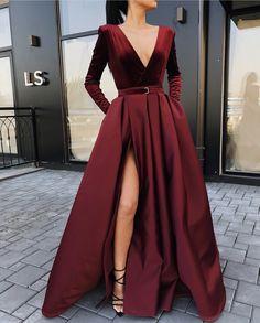 Burgundy V Neck Long Sleeves Side Slit Long Prom Dresses V-Neck Prom Dress, Burgundy Prom Dress, V-neck Prom Dress, Long Prom Dress, Prom Dress With Sleeves Prom Dresses Long Prom Dresses Long With Sleeves, Prom Dresses With Sleeves, Long Sleeve Gown, Long Sleeve Formal Dress, Long Slit Dress, Long Fancy Dresses, Long Dress For Prom, Long Sleeve Velvet Gown, Expensive Prom Dresses