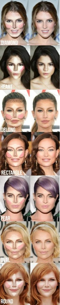 Contouring @Destani Leverett Leverett Perez here are some tips for different face shapes