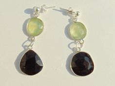 Earrings - Prehnite, Tourmaline and Silver 925 Length approx 4 cm, Weight approx 4 g / pc by FantasyStones on Etsy