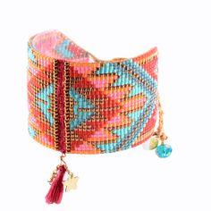 Pink/blue Beaded Cuff With Woven Sections And Tassel Macui Be - Mishky - Brazilian Bikini Shop Loom Bracelet Patterns, Beaded Earrings Patterns, Bead Loom Bracelets, Bead Loom Patterns, Woven Bracelets, Beading Patterns, Loom Bands, Bead Jewellery, Seed Bead Jewelry