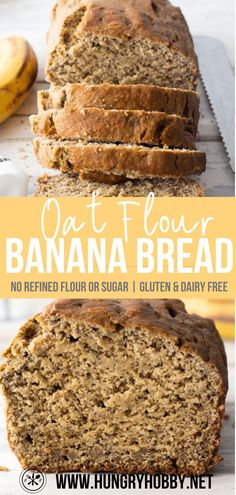 Oat flour banana bread is a hearty delicious healthy banana bread made with just a few simple ingredients! No refined flour or sugar, butter or dairy! Oat Flour Banana Bread, Sugar Free Banana Bread, Moist Banana Bread, Gluten Free Banana, Chocolate Chip Banana Bread, Super Healthy Banana Bread, Banana Bread With Oats, Healthy Banana Oat Muffins, Health Banana Bread