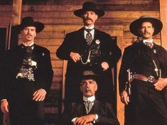 """thewitchywench: """" tranimation: """"Val Kilmer as Doc Holliday, Bill Paxton as Morgan Earp, Sam Elliott as Virgil Earp, and Kurt Russell as Wyatt Earp in TOMBSTONE """" One of my top 10 favorite. Tombstone Movie Quotes, Tombstone 1993, Tombstone Arizona, Movie Stars, Movie Tv, O Cowboy, Westerns, Party Hard, Katharine Ross"""