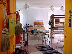 in my weaving studio